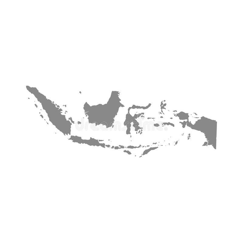 Vektor?versikt Indonesien Isolerad vektorillustration Gr? f?rger p? vit bakgrund royaltyfri illustrationer