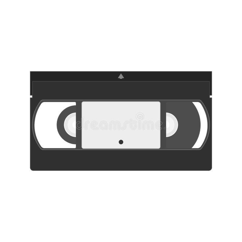 Vektor VHS-Kassettenikone Flache Ikone des Videobandes lizenzfreie abbildung