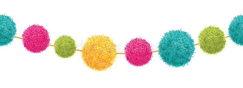 Vektor-vibrierende glückliche Geburtstagsfeier Pom Poms Set On ein Schnur-horizontales nahtloses Wiederholungs-Grenzmuster Groß f lizenzfreie abbildung