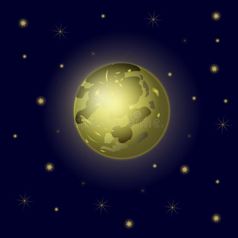 Vektor-Vollmond und Sterne, Himmel-Hintergrund, Galaxie-Hintergrund lizenzfreie abbildung