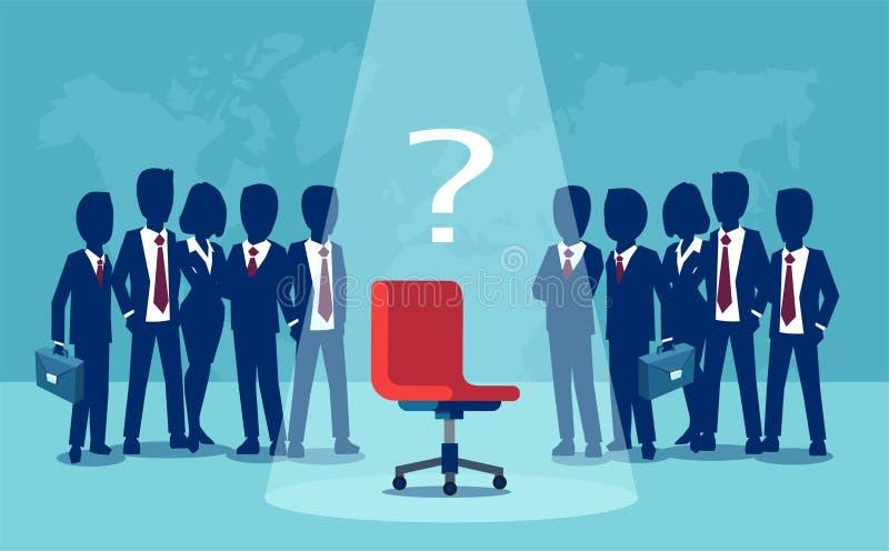 Vektor von den Geschäftsmännern und von Geschäftsfrauen, die mit leerem Stuhl in der Mitte stehen vektor abbildung