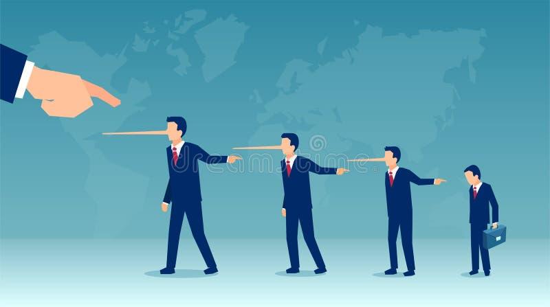 Vektor von den Lügnergeschäftsleuten, die Schuld an jemand legen stock abbildung