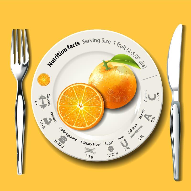 Vektor von den Nahrungs-Tatsachen, die Größe 1 orange Frucht dienen lizenzfreie abbildung