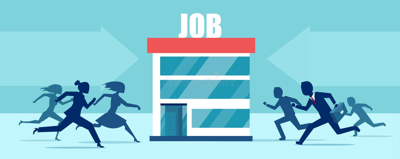 Vektor von den Wirtschaftlermännern und -frauen, die das Konkurrieren für Stellenangebote laufen lassen lizenzfreie abbildung