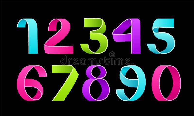 Vektor von faltenden Zahlen des Papiers Farbband-Skriptguß vektor abbildung