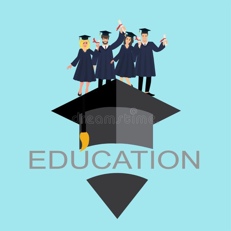 Vektor von glückliche Absolvent lizenzfreie abbildung