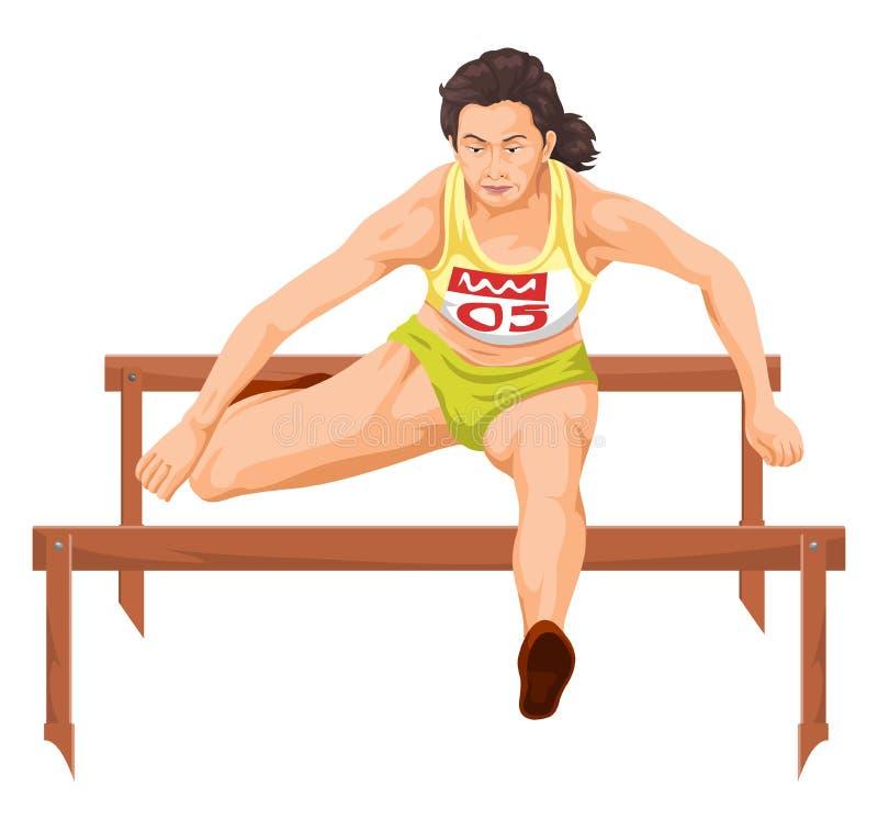 Vektor von laufenden Hürden der Frau vektor abbildung