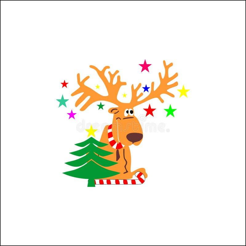 Vektor von Santa Claus und von Ren lizenzfreie abbildung