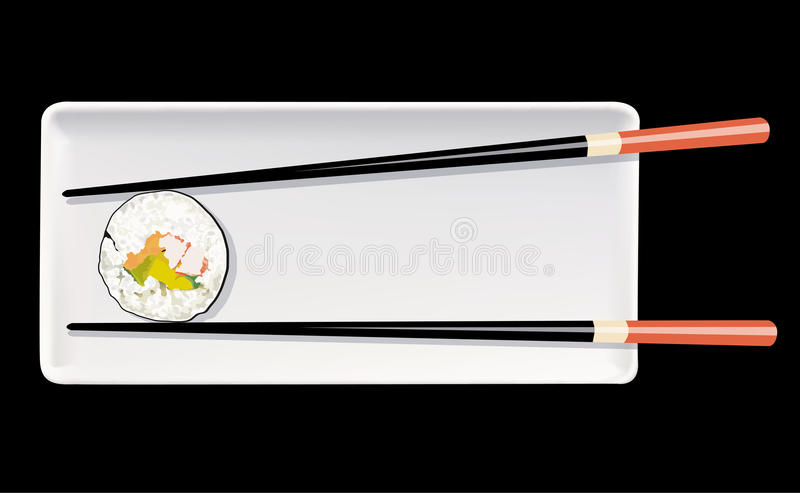 Vektor von Sushi auf weißer Platte mit Essstäbchen vektor abbildung