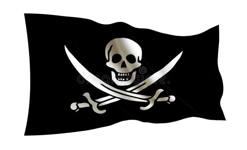Vektor vorhanden Lokalisierte Illustration einer seeräuberischen Flagge auf einem weißen Hintergrund Lustiger Roger lizenzfreie abbildung