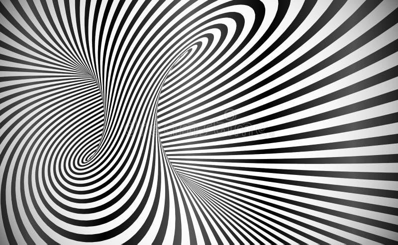 Vektor vriden bakgrund för abstrakt begrepp för optisk illusion för band royaltyfri illustrationer
