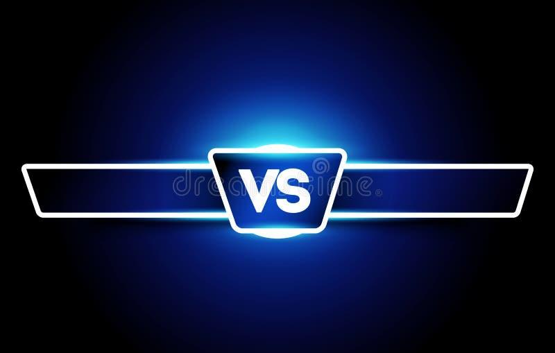 Vektor VS logo Kontra bräde av rivaler, med utrymme för text För lekar och sportar stock illustrationer
