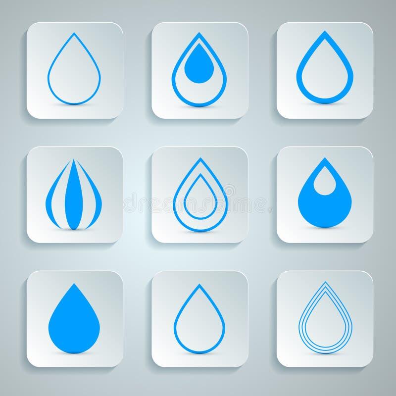 Vektor-Wasser-Tropfen-Ikonen eingestellt vektor abbildung