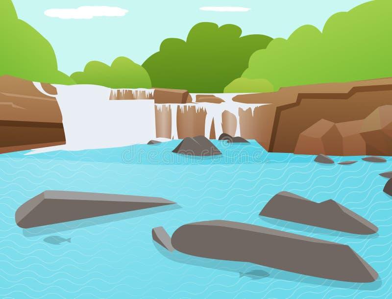 Vektor-Wasserfallhintergrund, Tat Ton Waterfall, Thailand lizenzfreie abbildung