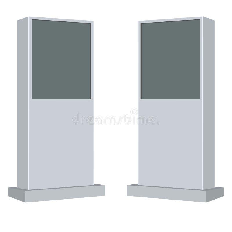 Vektor-wechselwirkende Informations-Kiosk-Terminalstand-Bildschirmanzeige-Konsole Infokiosk lizenzfreie abbildung