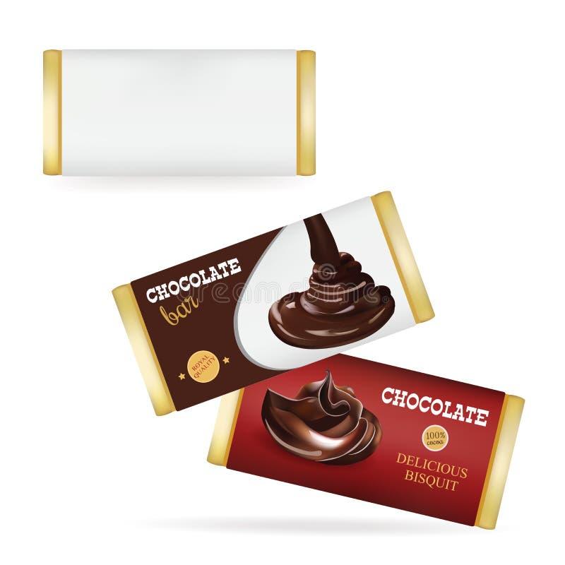 Vektor-weiße leere Lebensmittel-Verpackung für Keks, Oblate, Cracker, Bonbons, Schokoriegel, Schokoriegel, Snäcke Schokoriegel De vektor abbildung