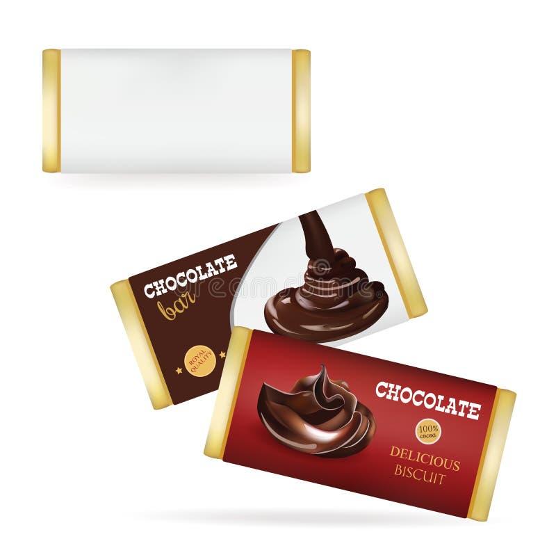Vektor-weiße leere Lebensmittel-Verpackung für Keks, Oblate, Cracker, Bonbons, Schokoriegel, Schokoriegel, Snäcke Schokoriegel De lizenzfreie abbildung