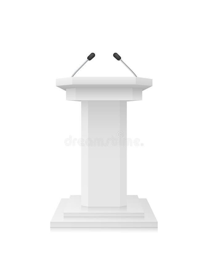 Vektor-weißer leerer Podium-Tribüne-Stand mit Mikrophonen vektor abbildung