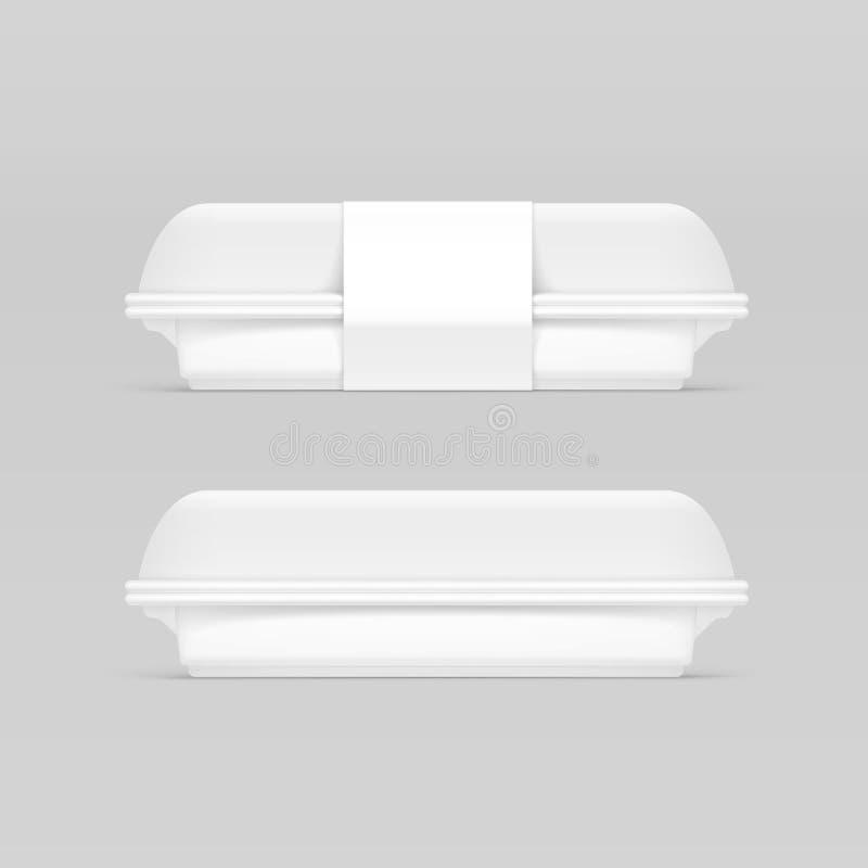 Vektor-weißer Schnellimbiss-Kasten-Behälter-Verpackungs-Paket-Verpackungs-Satz stock abbildung