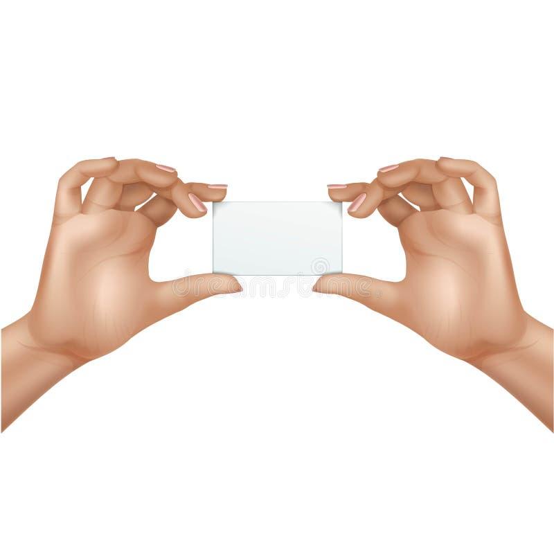 Vektor-weibliche Hände, die leere Karte lokalisiert halten lizenzfreie abbildung