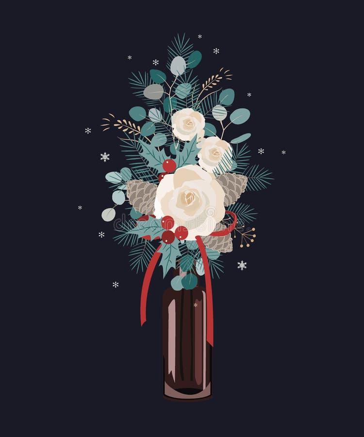 Vektor-Weihnachtsblumenstraußdekoration auf dunklem Hintergrund Weihnachtsbaum, Rosen, Kiefernkegel und Eukalyptusniederlassungen stock abbildung