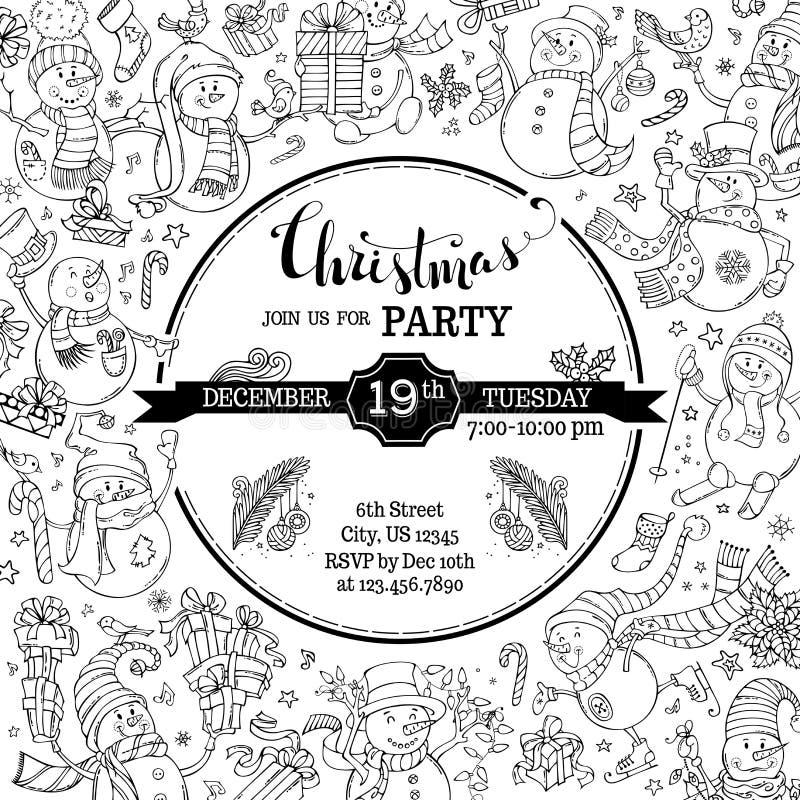 Vektor-Weihnachtsfesteinladung mit netten Gekritzelschneemännern lizenzfreie abbildung