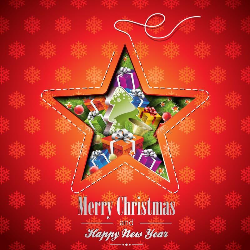 Vektor-Weihnachtsillustration mit abstrakten Sterndesign- und -feiertagselementen auf Schneeflockenhintergrund stock abbildung