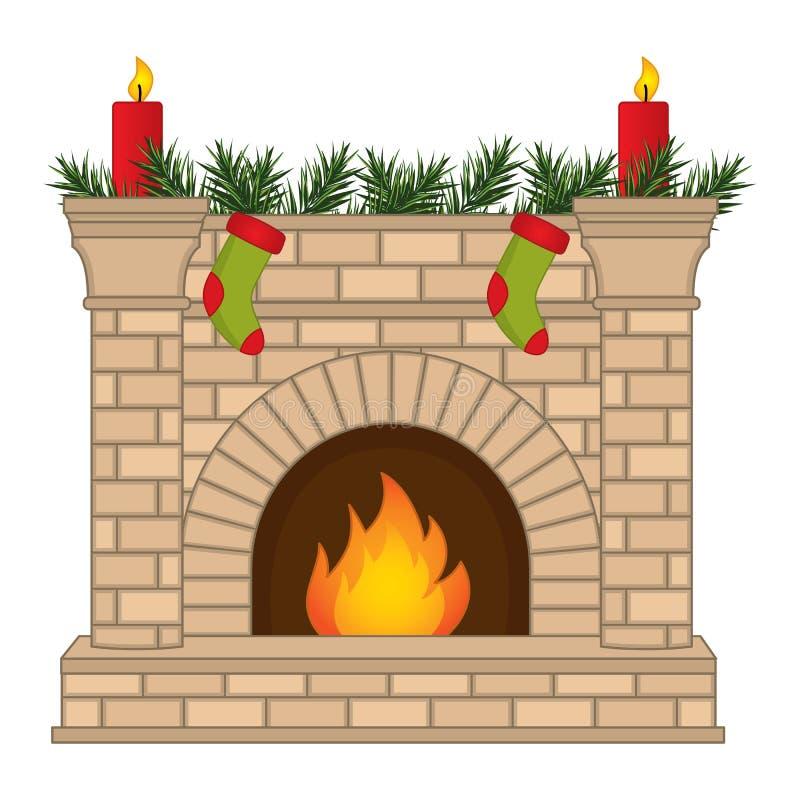 Vektor-Weihnachtskamin verziert mit Socken und Kerzen lizenzfreie abbildung