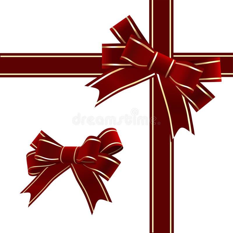 Vektor. Weihnachtsrotes Farbband mit Bogen vektor abbildung