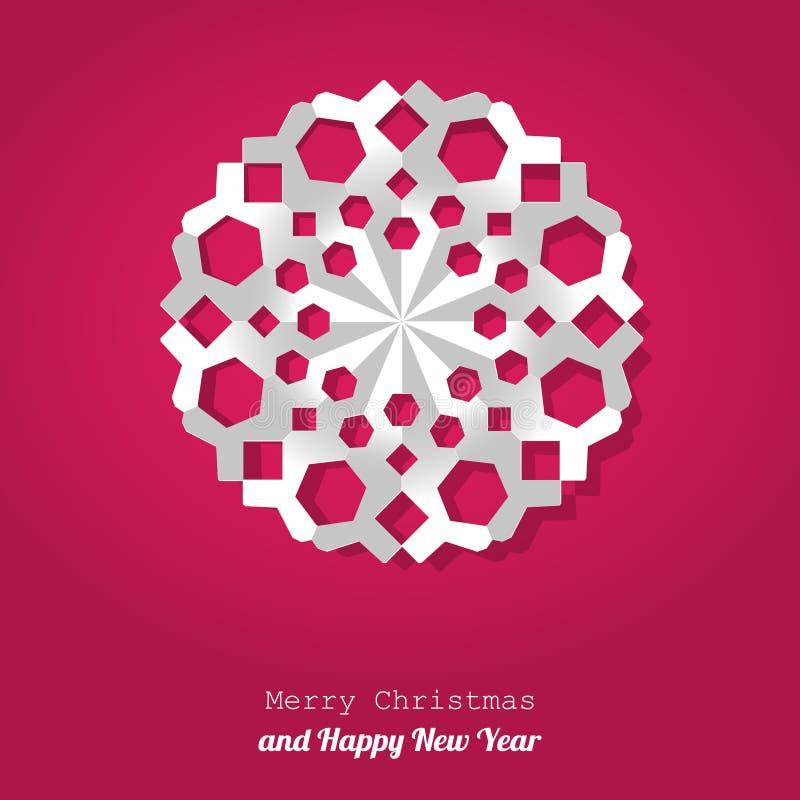 Vektor-Weihnachtsschneeflockenpapier auf einem rosa Hintergrund lizenzfreie abbildung