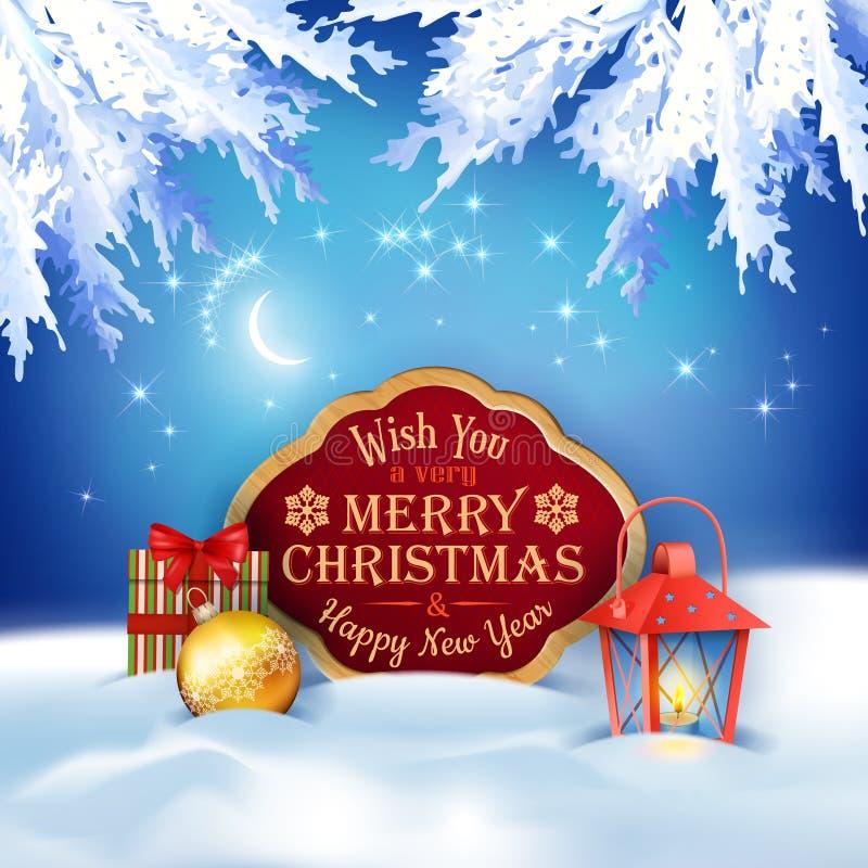 Vektor-Weihnachtswinter-Nachthintergrund lizenzfreie abbildung