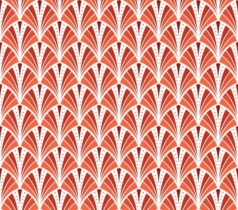 Vektor-Weinlese Art Deco Seamless Pattern Gewellte Beschaffenheit mit Kreisen Retro- stilvoller Hintergrund vektor abbildung