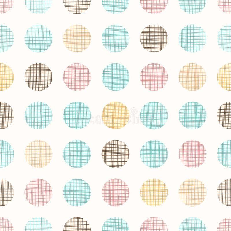 Vektor-Weinlese Dots Circles Seamless Pattern Background mit Gewebe-Beschaffenheit Vervollkommnen Sie für Kindertagesstätte, Gebu vektor abbildung