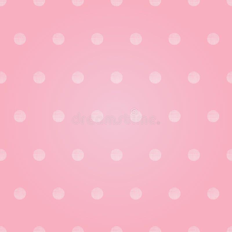 Vektor-Weinlese-Pastellrosa-Baby-Polka Dots Circles Seamless Pattern Background mit Gewebe-Beschaffenheit Vervollkommnen Sie für vektor abbildung