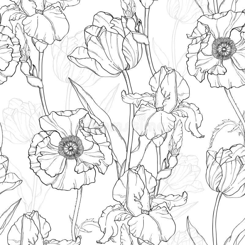 Vektor-Weinlese-Schwarz-weiße Blumen, Die Nahtloses Wiederholungs ...