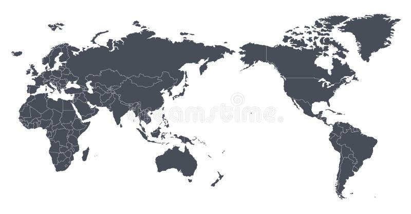 Vektor-Weltkarte-Entwurfs-Konturn-Schattenbild mit internationalem b lizenzfreie abbildung