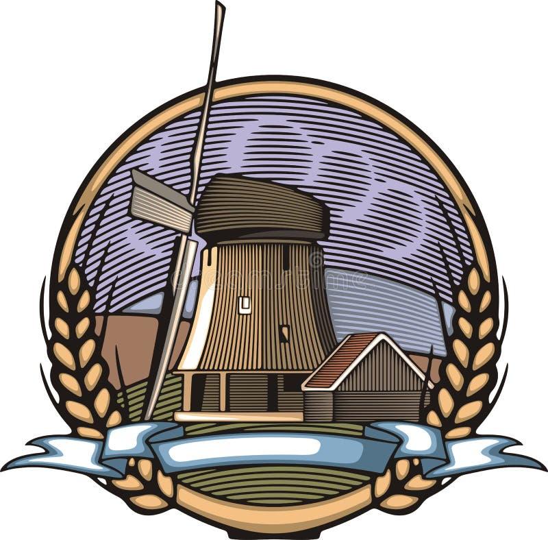 Vektor-Windmühlen-Illustration in der Holzschnitt-Art Organische Landwirtschaft stock abbildung