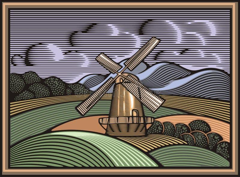 Vektor-Windmühlen-Illustration in der Holzschnitt-Art Organische Landwirtschaft lizenzfreie abbildung