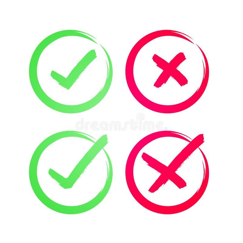Vektor-Zecke und Querzeichen Handgezogenes Schmutz-Grünprüfzeichen O.K. und rotes X, JA gemalt mit Bürstensymbolen und KEINEM Kno lizenzfreie abbildung