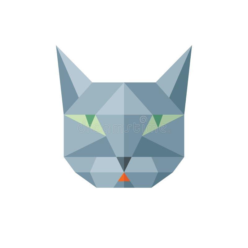 Vektor-Zeichenillustration der Katze kopf- in der abstrakten polygonalen Art Geometrisches Logo der Katze im flachen Artdesign Ka lizenzfreie abbildung