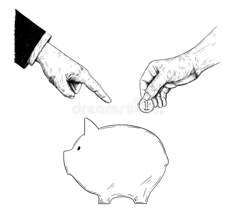 Vektor-Zeichnung der Hand des Geschäftsmannes oder des Politikers in der Klage bestellt eine einfache Person, Münze im Sparschw lizenzfreie abbildung