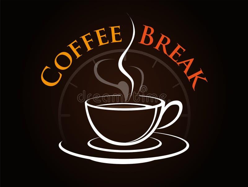 Vektor, Zeit, eine Kaffeepause zu nehmen lizenzfreie abbildung