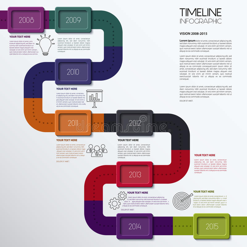 Vektor-Zeitachse Infographic Modernes übersichtliches Design vektor abbildung