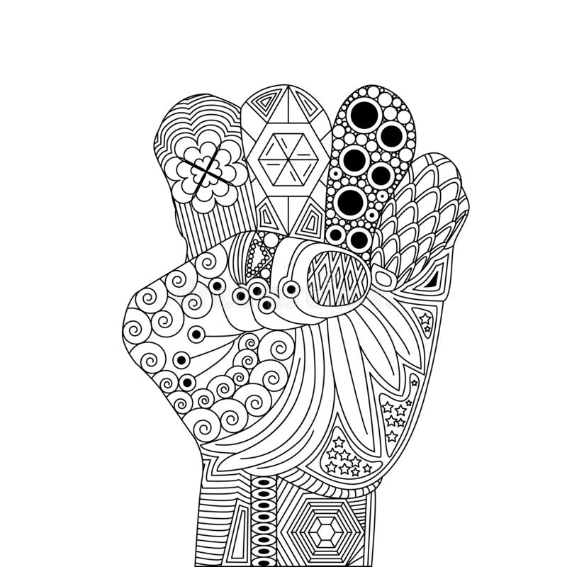 Vektor Zen Tangle av en gest för seger eller lycka stock illustrationer