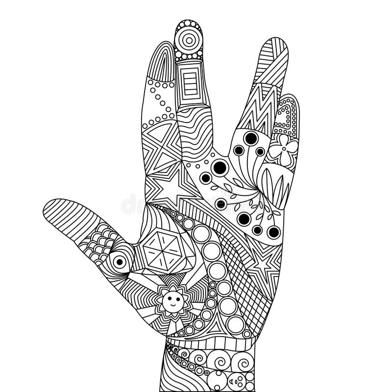 Vektor Zen Tangle der Palme vektor abbildung