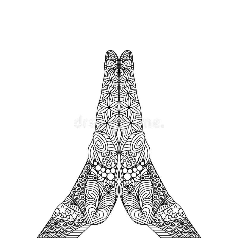 Vektor Zen Tangle einer Geste von beten vektor abbildung