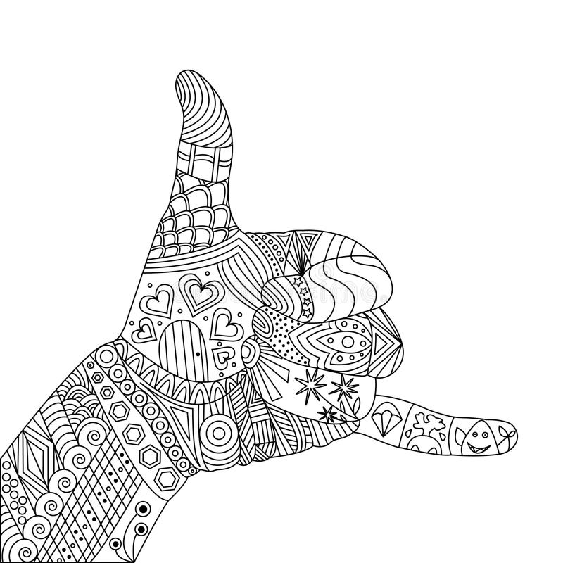 Vektor Zen Tangle Palm, en gest Shaka stock illustrationer