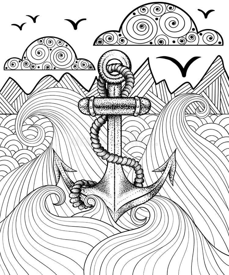 Vektor zentangle Druck für erwachsene Farbtonseite Hand gezeichnete artis stock abbildung
