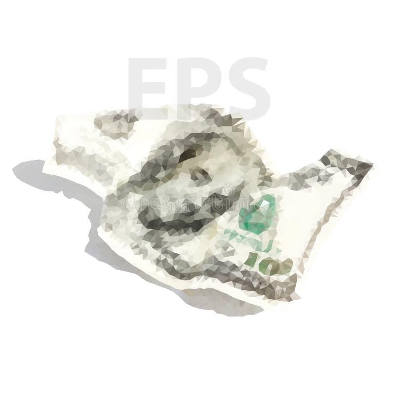 Vektor zerknitterte hundert Dollar 02 [umgewandelt] lizenzfreie abbildung