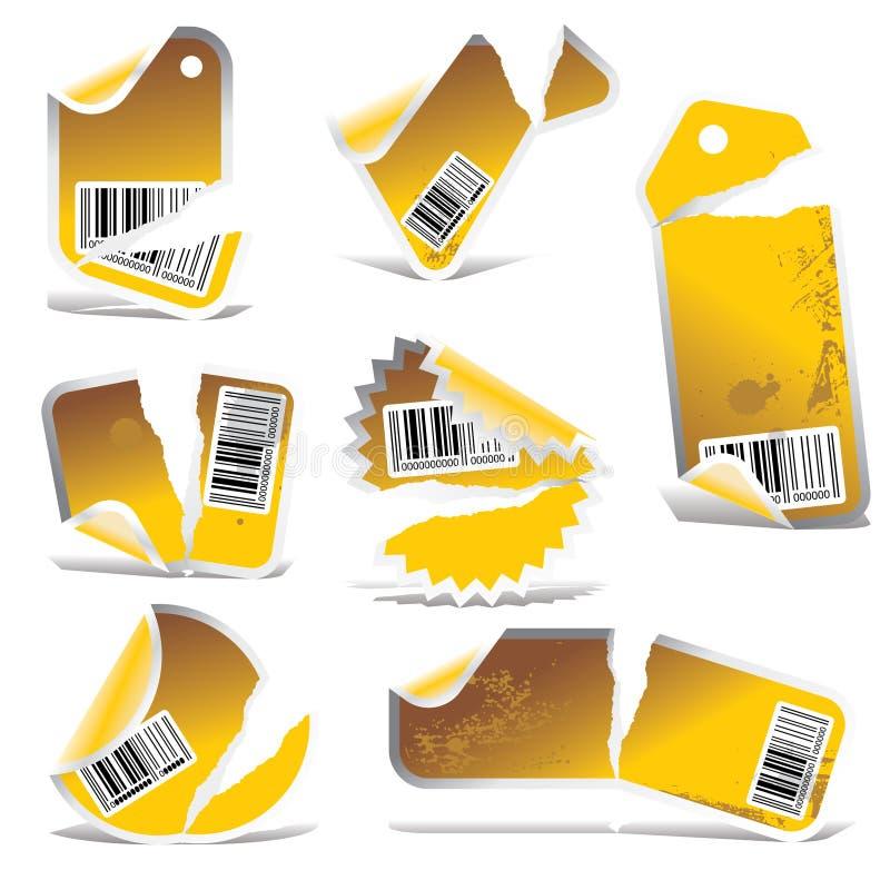 Vektor zerrissene Marke und Aufkleber   stock abbildung